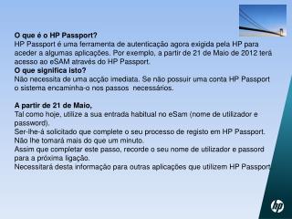 Informação Adicional sobre  o HP Passport: