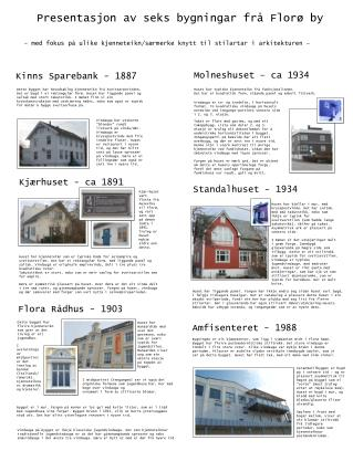 Presentasjon av seks bygningar frå Florø by
