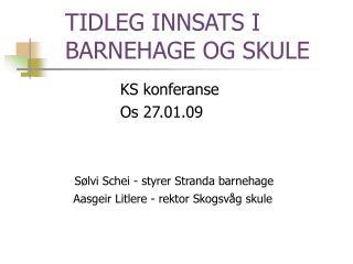 TIDLEG INNSATS I BARNEHAGE OG SKULE