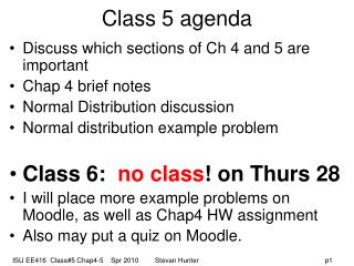 Class 5 agenda