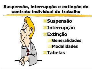 Suspensão, interrupção e extinção do contrato individual de trabalho