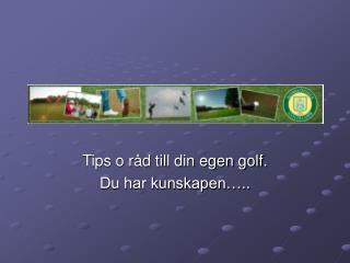 Tips o råd till din egen golf. Du har kunskapen…..