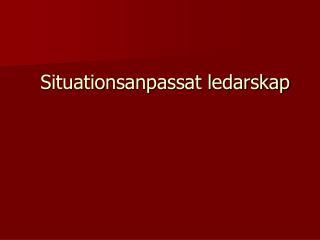 Situationsanpassat ledarskap