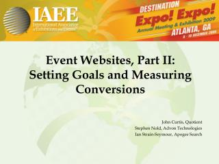 Event Websites, Part II:  Setting Goals and Measuring Conversions