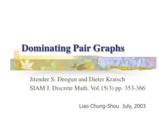 Dominating Pair Graphs