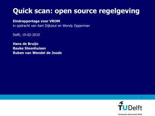 Quick scan: open source regelgeving
