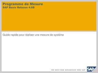 Programme de Mesure  SAP Basis Release 4.6B