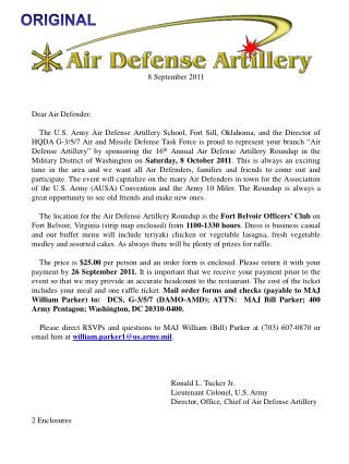 8 September 2011      Dear Air Defender:       The U.S. Army Air Defense Artillery School, Fort Sill, Oklahoma, and the
