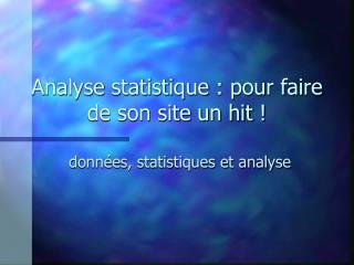 Analyse statistique : pour faire de son site un hit !