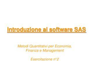 Introduzione al software SAS