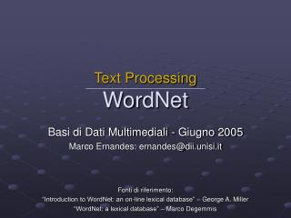 Text Processing WordNet