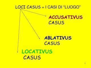 """LOCI CASUS  = I CASI DI """"LUOGO"""""""