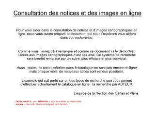 Consultation des notices et des images en ligne
