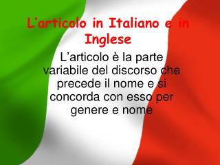 L'articolo in Italiano e in Inglese