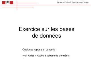 Exercice sur les bases  de données