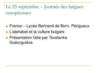Le  25  septembre – Journée des langues européennes