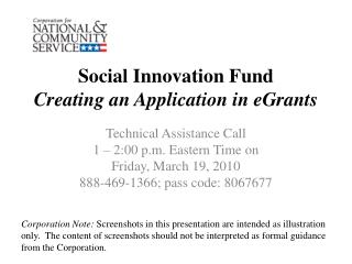 Social Innovation Fund Creating an Application in eGrants