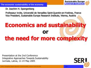 Economics and sustainability or  the need for more complexity