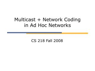 Multicast + Network Coding  in Ad Hoc Networks