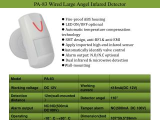 PA-83  Wired  Large Angel Infared Detector