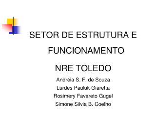 SETOR DE ESTRUTURA E FUNCIONAMENTO  NRE TOLEDO Andréia S. F. de Souza Lurdes Pauluk Giaretta