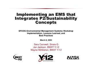 Implementing an EMS that Integrates P2/Sustainability Concepts