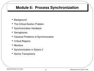 Module 6:  Process Synchronization