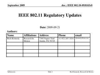 IEEE 802.11 Regulatory Updates