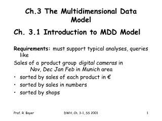 Ch.3 The Multidimensional Data Model