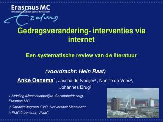 Gedragsverandering- interventies via internet  Een systematische review van de literatuur