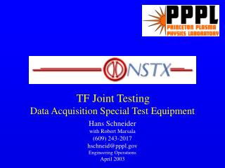 TF Joint Testing Data Acquisition Special Test Equipment