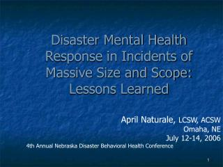 Disaster Mental Health Response in Incidents of Massive Size and Scope: Lessons Learned