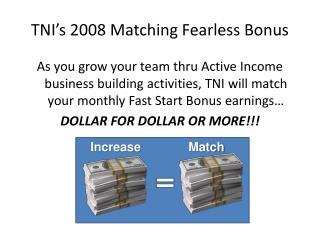 TNI's 2008 Matching Fearless Bonus
