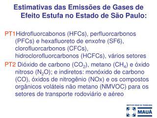 Estimativas das Emissões de Gases de Efeito Estufa no Estado de São Paulo:
