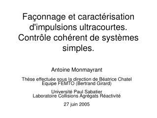 Façonnage et caractérisation d'impulsions ultracourtes. Contrôle cohérent de systèmes simples.