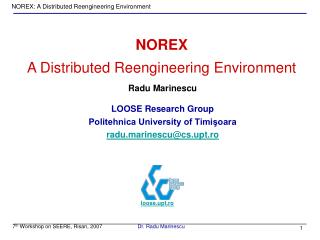 NOREX A Distributed Reengineering Environment