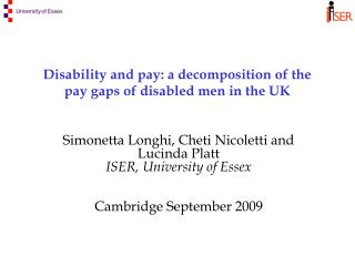 Disability and pay: a decomposition of the pay gaps of disabled men in the UK