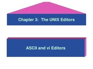 Chapter 3:  The UNIX Editors