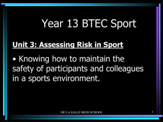 Year 13 BTEC Sport