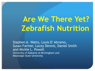 Are We There Yet? Zebrafish Nutrition