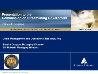 Presentation to the Commission on Streamlining Government