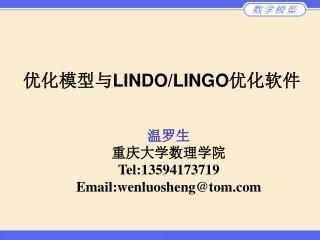 优化模型与 LINDO/LINGO 优化软件