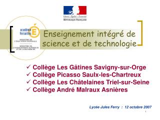 Enseignement int gr  de  science et de technologie