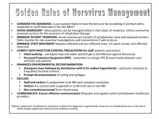 Golden Rules of Norovirus Management