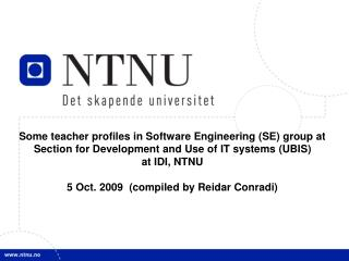 Some teacher profiles in Software Engineering (SE) group at