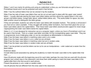 Alphabet Arch Power Point Slide Show