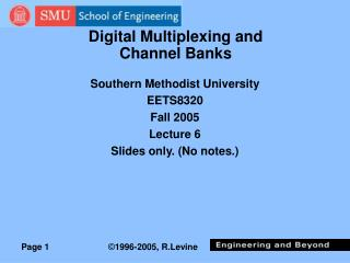 Digital Multiplexing and Channel Banks