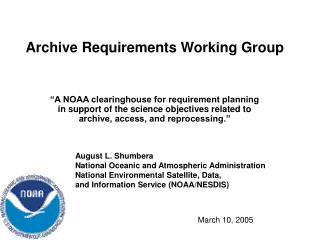 Archive Requirements Working Group