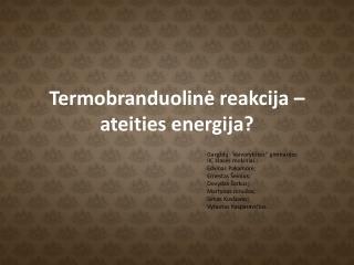 Termobranduolin ? reakcija � ateities energija?
