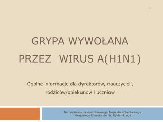 GRYPA WYWOŁANA PRZEZ  WIRUS A(H1N1)